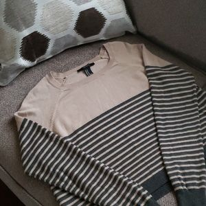 Forever 21 tan & gray striped cropped sweater